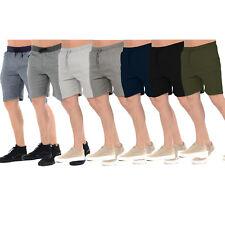 MENS FLEECE SHORTS JERSEY SWEAT SUMMER SPORTS JOGGERS CASUAL PLAIN LOUNGE PANTS