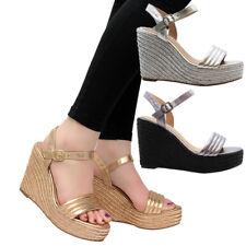 Ladies Women Ankle Strap Espadrilles Platform High Wedge Heel Sandals Shoes Size
