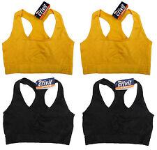 2x Damen Funktions Shirt Sport BH Jogging Top Oberteil Größe S M L gelb schwarz