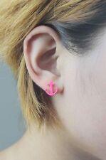 Paire de boucles d'oreilles bijou ancre marine matelot pinup rose OU violet