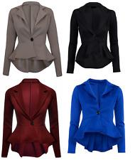Ladies Peplum Fitted Jacket Women Slim Fit Button Flared Crop Frill Blazer 8-16