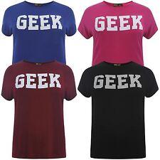 New Women Plus Size Printed T-Shirts Geek Print Stretch Tops 16-26