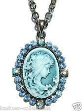 Bridal Blue w Swarovski Crystal CAMEO Fairy Princess Pendant Chain Necklace Xmas