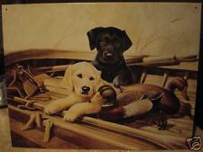 Tin Sign- L R Kaatz- Black & Blond Pups-Duck Decoy-Boat