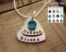 Personalizado Nombres & Cristal Dos Niveles Collar Corazón Grandma