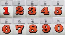 "3"" NUMBER DECAL – Orange Flake/Black helmet race digit sticker name text custom"