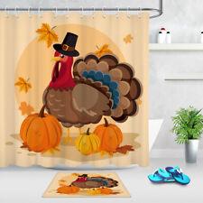 Thanksgiving Turkey Shower Curtain Hooks Autumn Pumpkin Maple Leaves Bath Mat LB