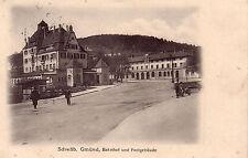 AK  Schwäbisch Gmünd Bahnhof Postgebäude Baden Württemberg gel 1914
