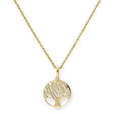 Real 375 9ct Árbol de la vida de Oro Cadena Collar Colgante Plantas árboles cultural