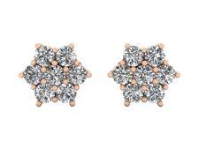 Genuine 2.00Ct Round Cut Diamond Cluster Flower Earrings 14karat Gold