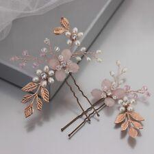 Rose Gold & Blush Pink Bridal Hair Accessory Woodland Single Pin or Set of 2 UK
