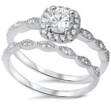 Sterling Silver .925 CZ Halo Round Vintage Engagement Ring Wedding Bridal Set