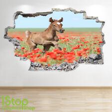 Pony Caballo Pared Adhesivo 3D Look-Dormitorio Salón naturaleza animal la etiqueta de la pared Z561