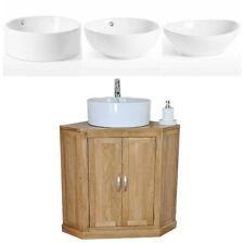 Bathroom Vanity Unit Oak Cabinet Corner Wash Stand & White Ceramic Basin 501B A