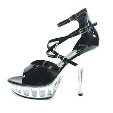MicheleX– 7911 Black  PVC  5.5 inch Clear Platform stiletto heel