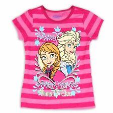 c67167a40 Disney Frozen Niña Elsa y Ana Rosa a Rayas Purpurina Camiseta Manga Corta