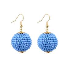 Seed Beaded Work Ball Dangle Drop Hook Earrings for Women