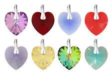 Sterling Silber Anhänger gemacht mit 6228 14mm Herz Swarovski® Kristalle