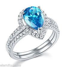LUXURIOUS BLUE NSCD Simulated 2 Carat Pear Cut Diamond Ring Engagement Wedding