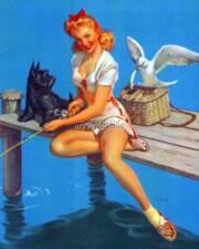 Vintage Pin up girl fishing scottie dog Quilting Fabric Block 5x7 wm132