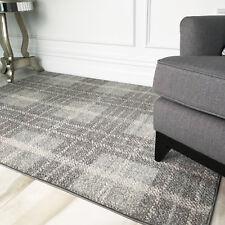 Modern Grey Tartan Rugs Soft Warm Check Non Shed Geometric Living Room Area Rug