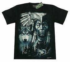 T-Shirt Indianer+Wolf+Adler, schwarz Gr. S M XL Häuptling Eagle Native Indians