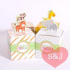 10x Baby Shower Birthday Party Favour Bomboniere Paper Box 5cm Monkey Elephant