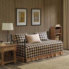 100% Cotton Classic Grey Tan Check Tartan Day Bed Cover Bedskirt Sham 5 pcs Set