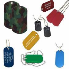 Personalizado MILITAR Chapa identificativa COLLAR CON NOMBRE, Grabado Rojo Azul