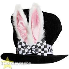 Conejo Blanco Oreja Peluche Negro Top Hat Wonderland Bunny Semana del Libro Escuela Para Adultos