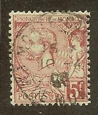 """MONACO N°21a """"ALBERT 1er 5F CARMIN S.VERT"""" OBLITERE TTB"""