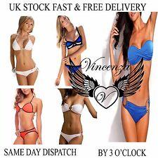 UK Vincenza Womens Padded Push-up Bra Beach Bikini Set Swimsuit Bathing Suit