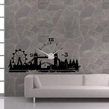 Wandtattoo Uhr KARLSSON Wanduhr Skyline England London town britain clock +397+