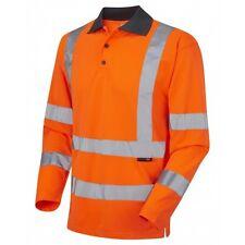 Leo Workwear woolsery CLASSE 3 Arancione Hi Vis Polo Manica Lunga