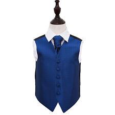 NUOVO dqt chiave greca Ragazzo Matrimonio Gilet & Cravatta Set-Blu Royal