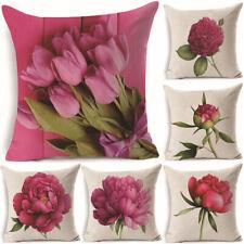 18'' Rose Print Cotton Linen Pillow Case Cushion Cover Sofa Home Decor