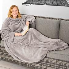 Couverture polaire douillette avec des manches et poche TV 170x200cm gris