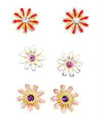 Very pretty enamel stud daisy earrings, 50s 60s retro, multiple colours