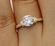 1.50 Ct 14K Yellow Gold Round Engagement Wedding Bridal Propose Promise Ring