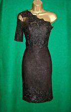Nouveau M&S AUTOGRAPH Noir Floral Lace One-épaule cocktail Robe de Soirée UK 8 14