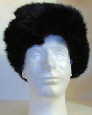 Authentic Russian 100%  Rabbit Fur Black Ushanka Hat w/ Ear Flaps