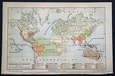 1897.Orig. Xilo-Topografica=Mappa REGIONALE Animali nel Mondo= Planisfero.Meyers