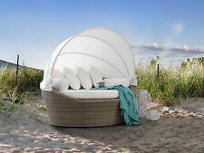 Designer Rattan Strandkorb Sonneninsel Strandmuschel Gartenliege braun weiss
