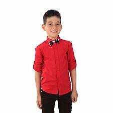 Boys Linen Red Shirts Kids Summer Long Sleeve Shirts Roll Up Sleeve Boy Shirt