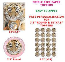 Personalizzata TIGER CUB bambini compleanno torta / cupcake topper su carta di riso