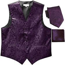 New Men's Formal Vest Tuxedo Waistcoat_necktie set paisley wedding dark purple