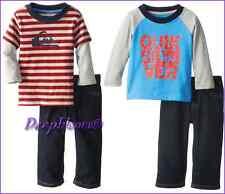 QUIKSILVER OUTFIT SET SHIRT LONG PANTS BOYS SZ 18 M 24 M 4T BLUE RED KHAKI NEW