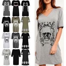 Ladies Haloween Short Sleeve Women PJ Dress Skull Rebel Printed Baggy Oversized