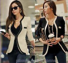 giacca donna taglio sfiancato profili a contrasto copri spalle giacchina 0077