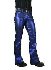 SHRINE CLASSIC BLUE METALLIC GOTH PUNK STEAMPUNK RETRO ROCKER BIKER JEANS PANTS